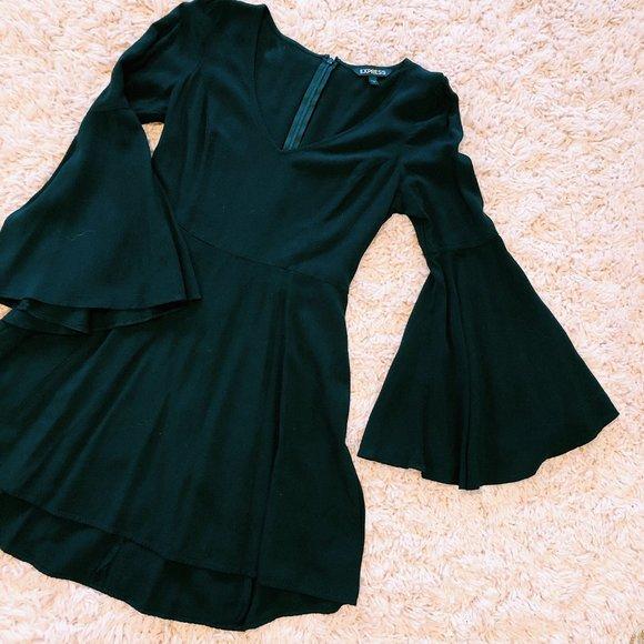 Express Dresses & Skirts - Express Black V-Neck & Bell-Sleeved Dress